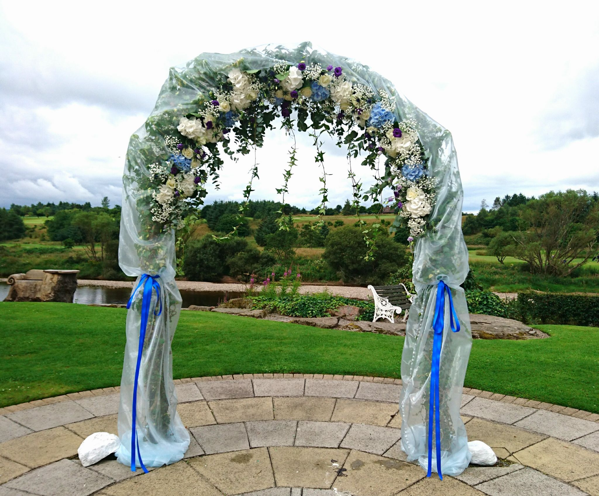Decor wedding arch with organza and flowers junglespirit Images